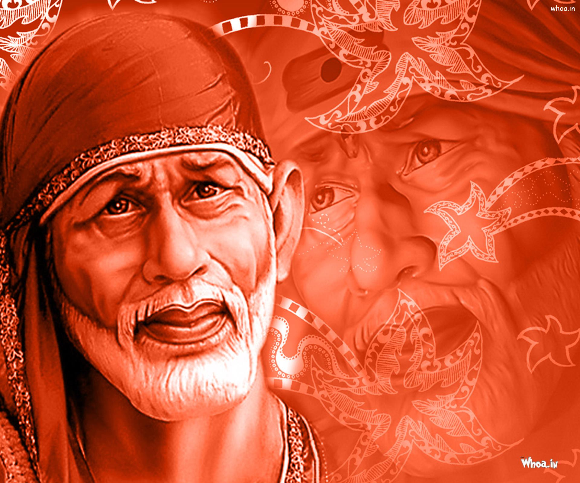 shirdi sai baba 3d with red background hd wallpaper