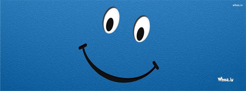 Smiley Face On A Blue Background Fb Cover