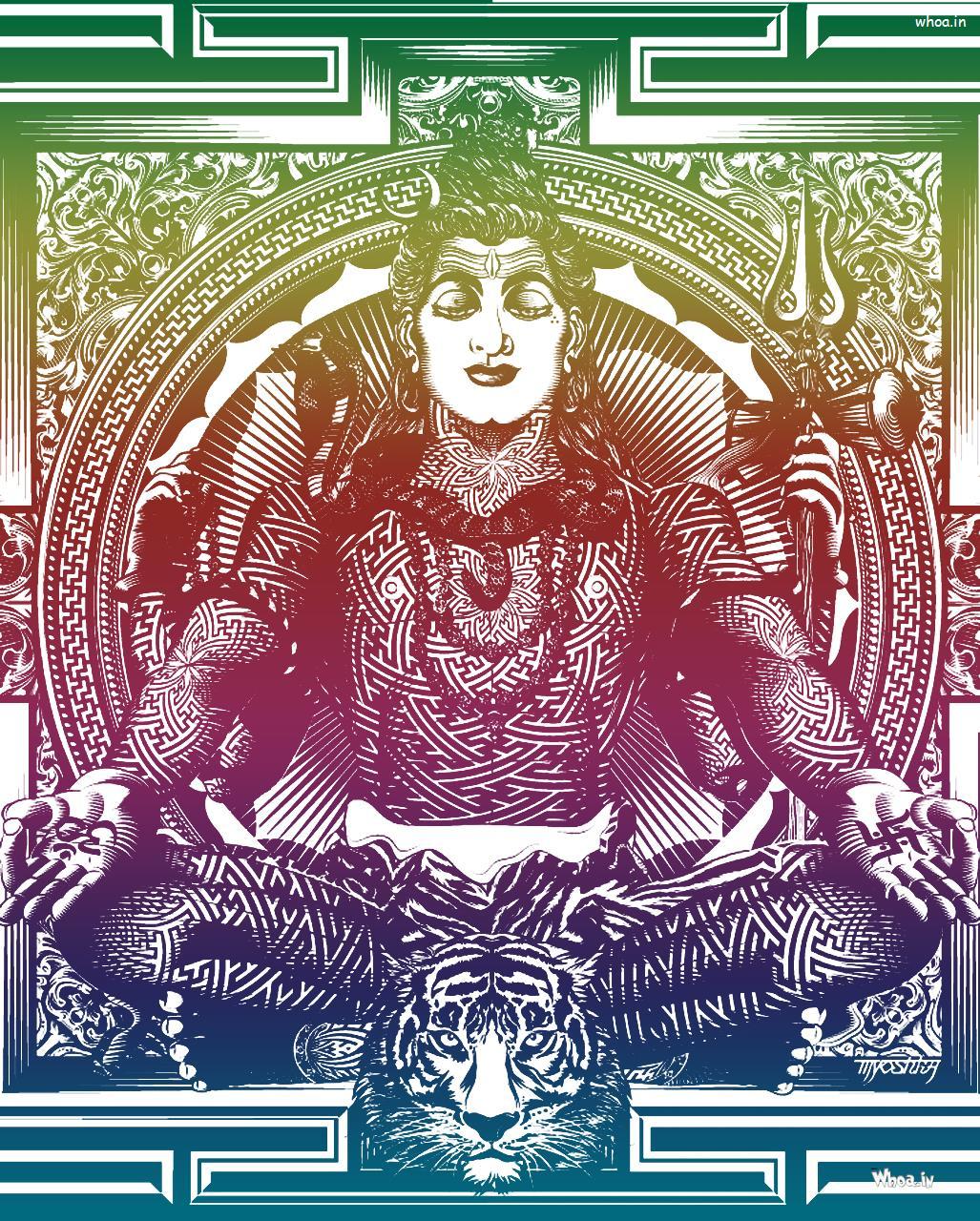 Multicolor HD Image Of Lord Shiva