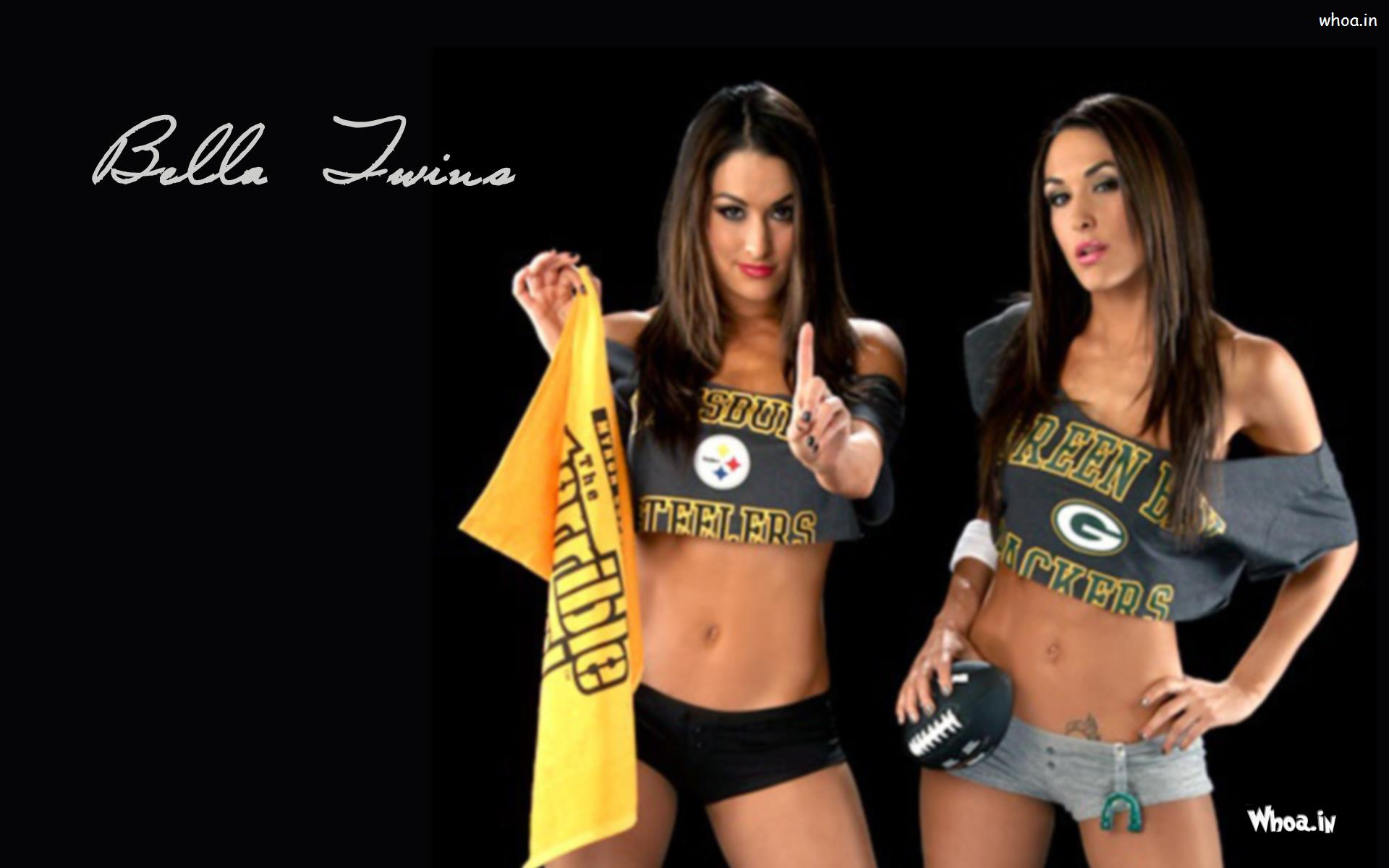 The Bella Twins In Grey Top And Shorts Wallpaper