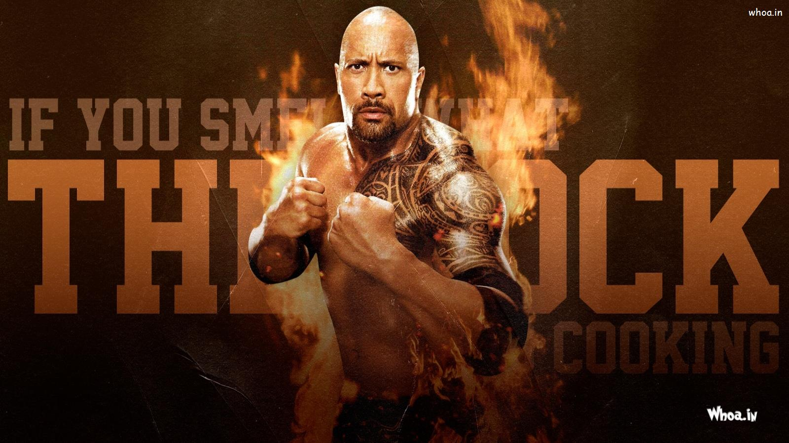 the rock fight with fire background hd wwe wallpaper