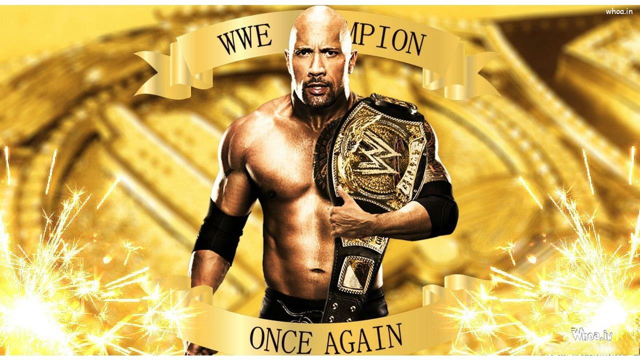 The Rock Win Wwe Championship Belt With Face Closeup Hd Wallpaper