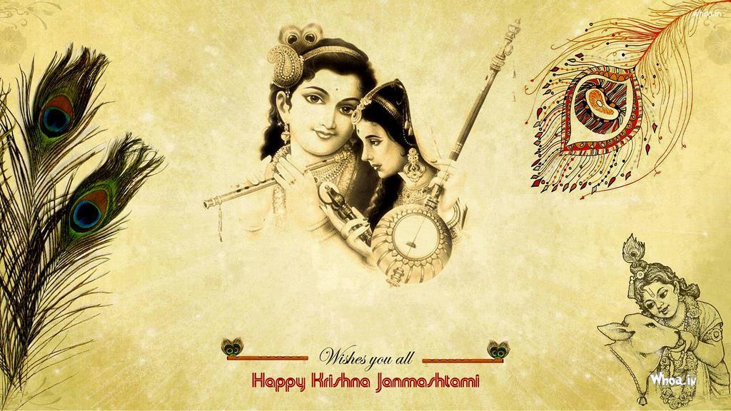 Wish U All Happy Janmashtami With Lord Krishna And Meera Hd Wallpaper