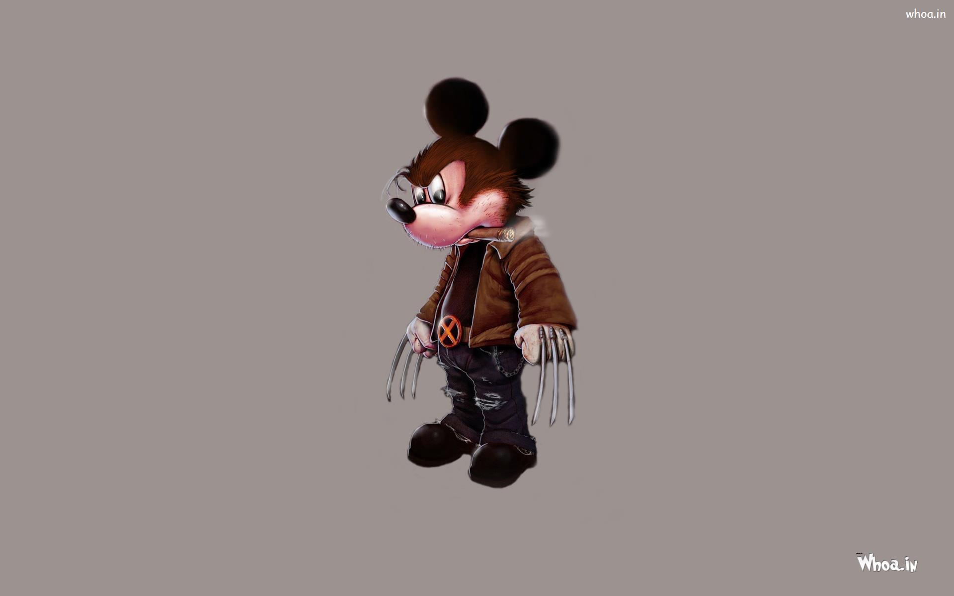 Wolverine Mickey Mouse Hd Cartoon Wallpaper
